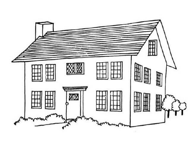 House And Buildings Coloring Pages Bird